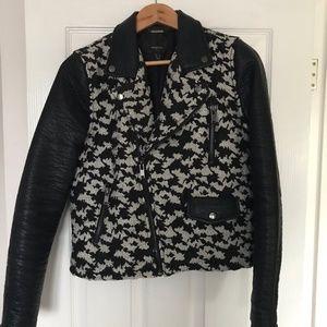 Mango Faux Leather Houndstooth Biker Jacket